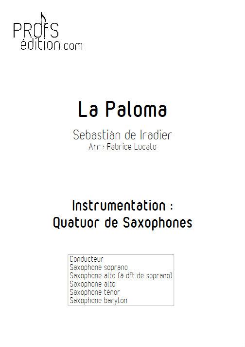 La Paloma - Quatuor de Saxophones - IRADIER S. - front page
