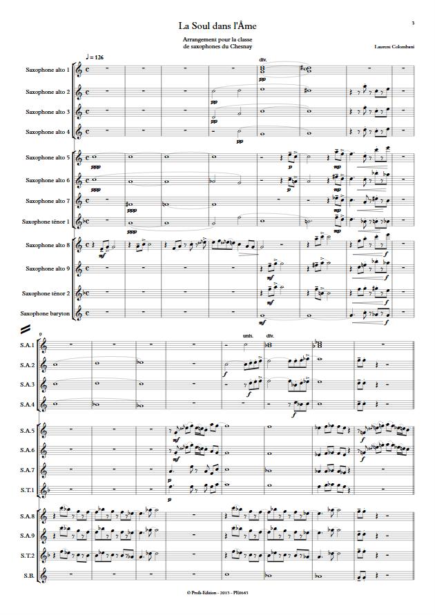 La soul dans l'âme - Ensemble de Saxophones - COLOMBANI L. - app.scorescoreTitle