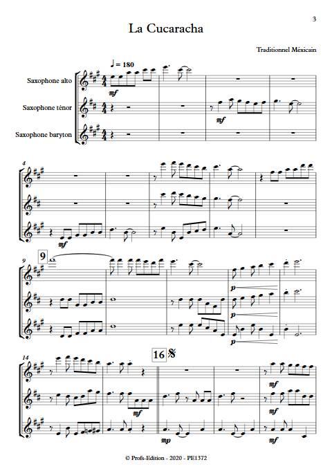 La Cucaracha - Trio de Saxophones - TRADITIONNEL MEXICAIN - app.scorescoreTitle