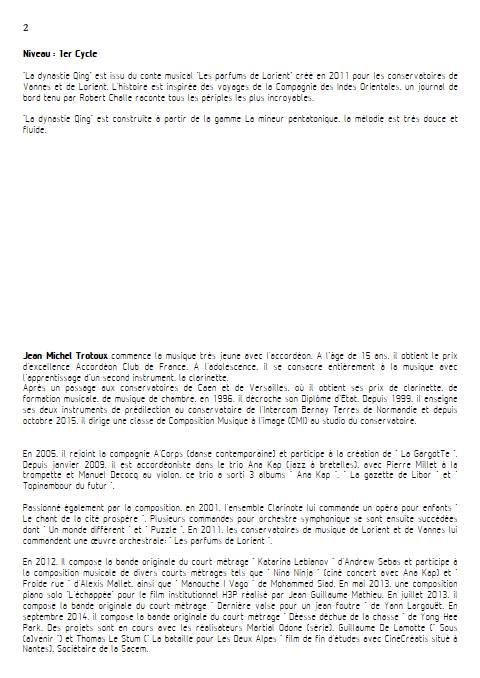 la dynastie Qing - Quatuor de Clarinettes - TROTOUX J-M. - Educationnal sheet