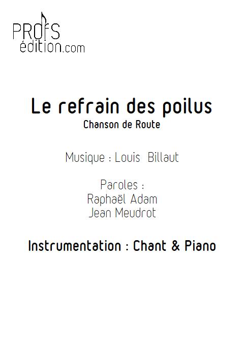 Le refrain des poilus - Piano & Voix - BILLAUT L. - front page