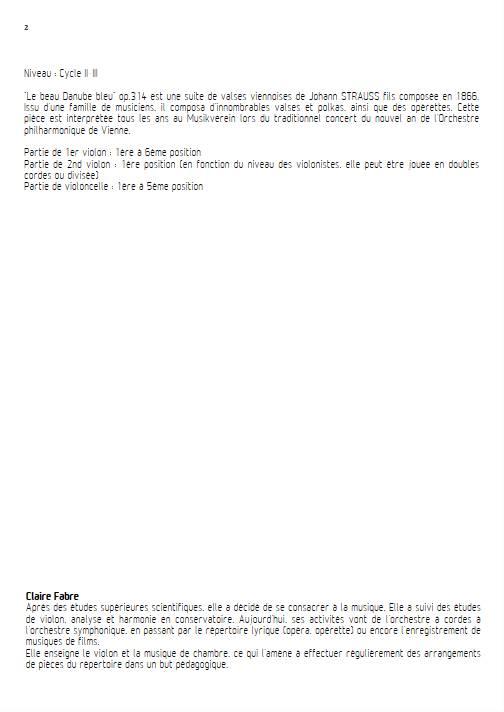Le Beau Danube Bleu - Trio Violons Violoncelle - STRAUSS J. - Educationnal sheet