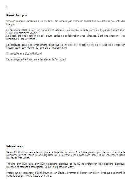 Le Coach - Ensemble de Saxophones - SOPRANO - Educationnal sheet