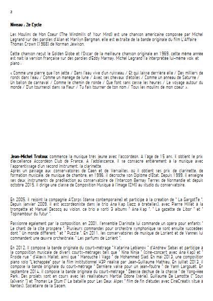 Les moulins de mon coeur - Ensemble Variable - LEGRAND M. - Educationnal sheet