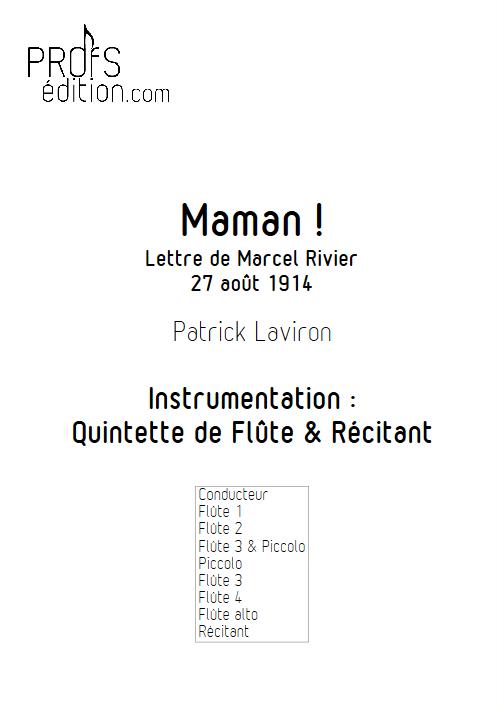 Maman ! - Quintette de Flûtes & Récitant - LAVIRON P. - front page