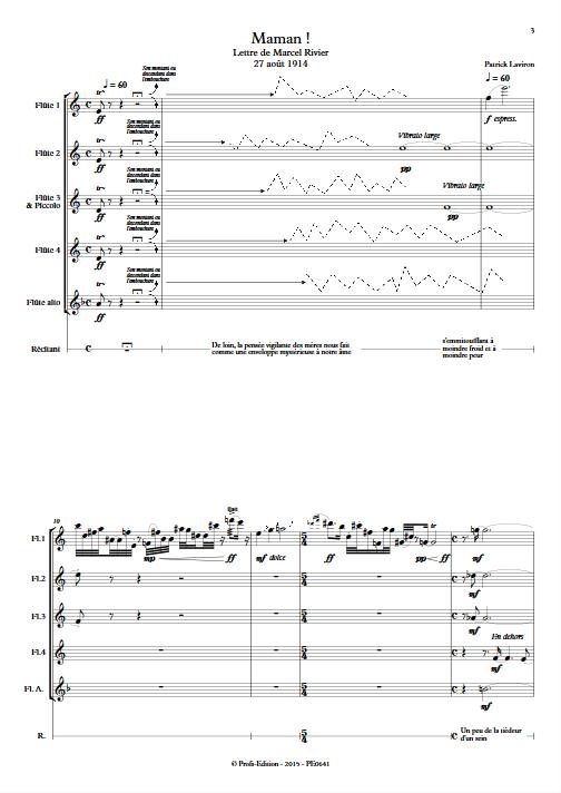 Maman ! - Quintette de Flûtes & Récitant - LAVIRON P. - app.scorescoreTitle
