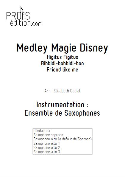 Medley Magie Disney  - Ensemble de Saxophones - DIVERS - front page