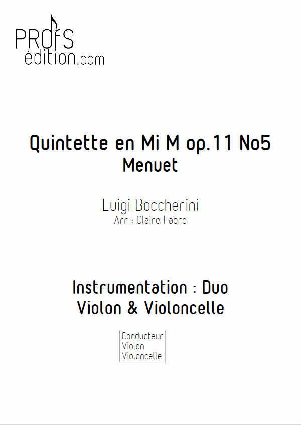 Menuet - Duo Violon Violoncelle - BOCCHERINI L. - front page