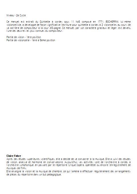 Menuet - Duo Violon Violoncelle - BOCCHERINI L. - Educationnal sheet