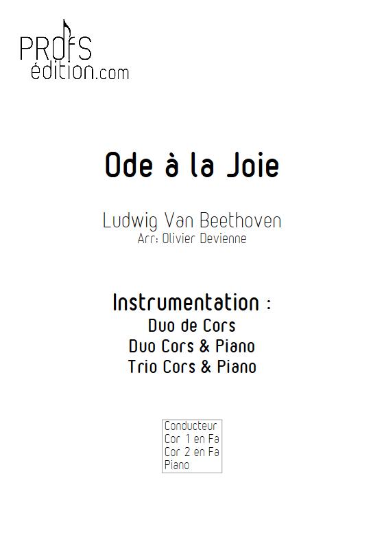 Ode à la joie - Duos, Trio Cors et Piano- BEETHOVEN L. V. - front page