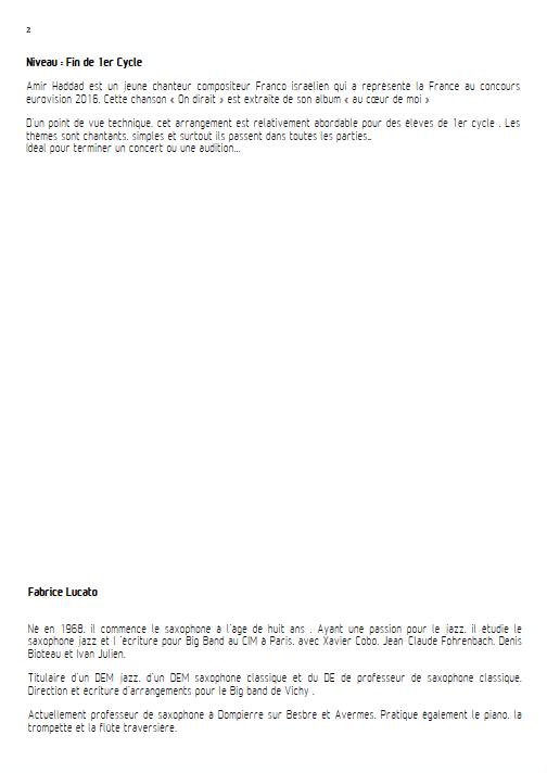 On dirait - Ensemble à Géométrie Variable - AMIR - Educationnal sheet