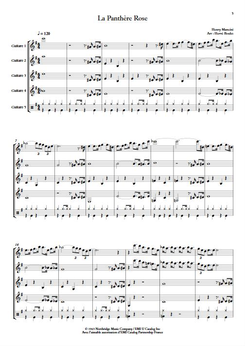La Panthère Rose - Ensemble de Guitares - MANCINI H. - app.scorescoreTitle