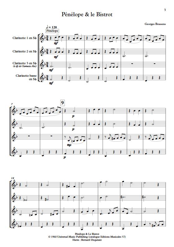 Pénélope & Le Bistrot - Quatuor de Clarinettes - BRASSENS G. - app.scorescoreTitle