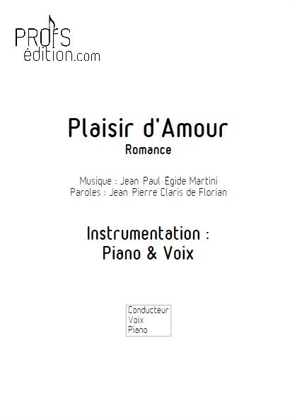 Plaisir d'Amour - Piano & Voix - MARTINI J-P-E - front page