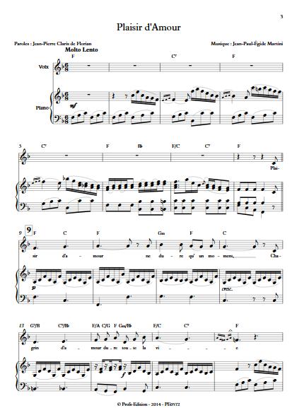 Plaisir d'Amour - Piano & Voix - MARTINI J-P-E - app.scorescoreTitle