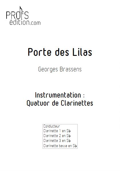 Porte des Lilas - Quatuor de Clarinettes - BRASSENS G. - front page