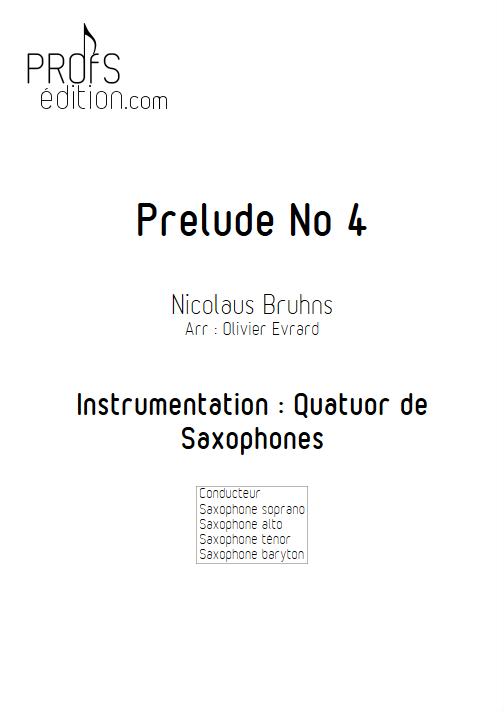 Prélude N°4 - Quatuor de Saxophones - BRUHNS N. - front page