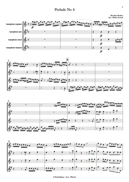 Prélude N°4 - Quatuor de Saxophones - BRUHNS N. - app.scorescoreTitle