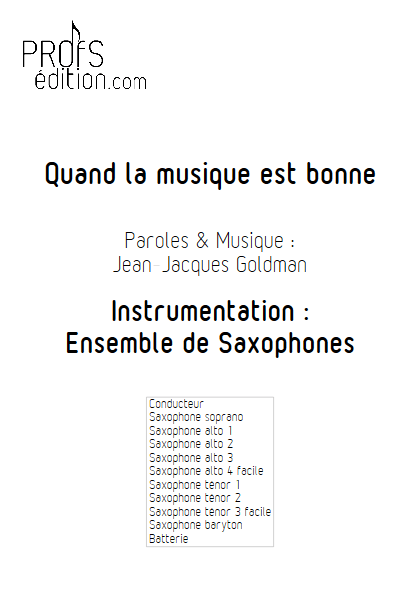 Quand la musique est bonne - Ensemble de Saxophones - GOLDMAN J.J. - front page