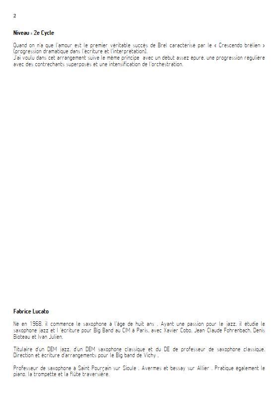 Quand on a que l'amour - Ensemble de Saxophones - BREL J. - Educationnal sheet
