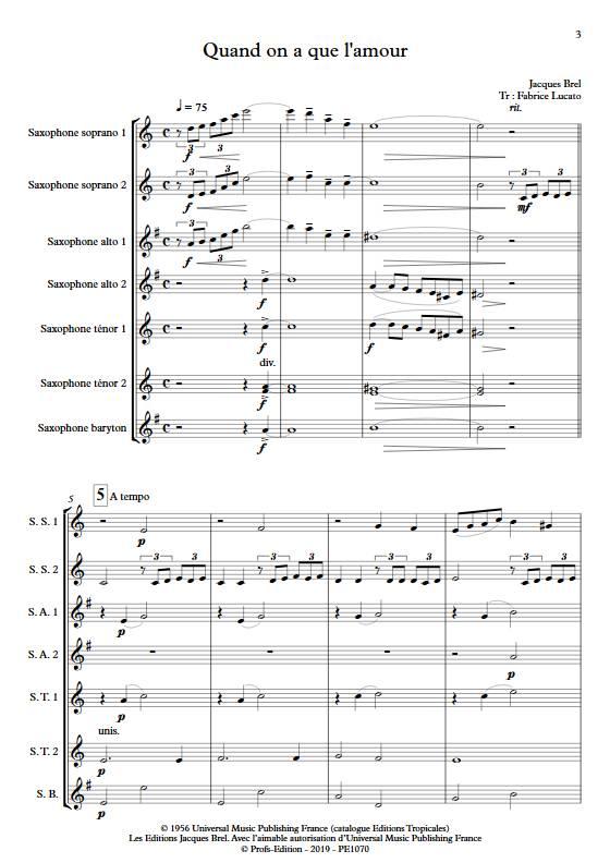 Quand on a que l'amour - Ensemble de Saxophones - BREL J. - app.scorescoreTitle