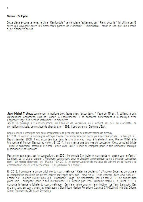 Rémidodola - Quatuor de Clarinettes - TROTOUX J. M. - Educationnal sheet
