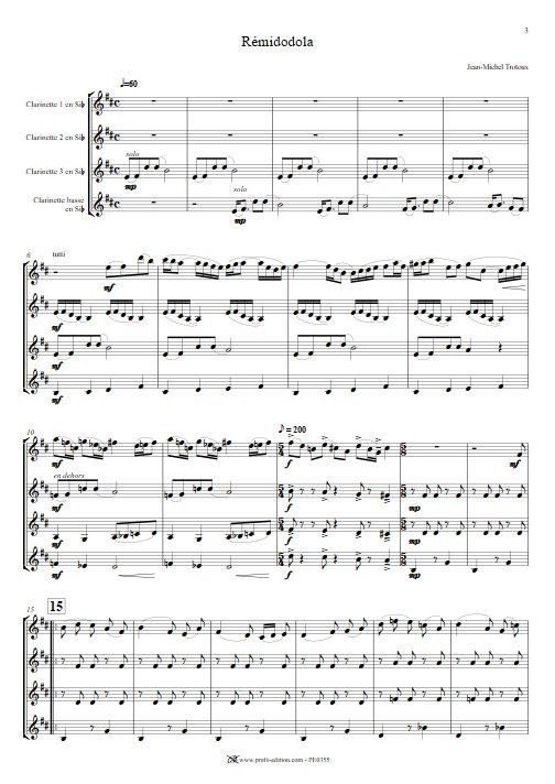 Rémidodola - Quatuor de Clarinettes - TROTOUX J. M. - app.scorescoreTitle