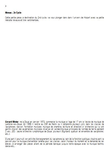 Romance - Quatuor de Saxophones - MOZART W. A. - Educationnal sheet