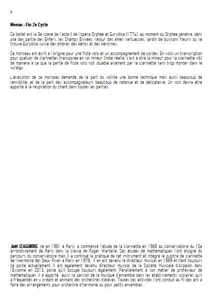 Scène des champs elysées - Quatuor de Clarinettes - GLUCK W. - Educationnal sheet