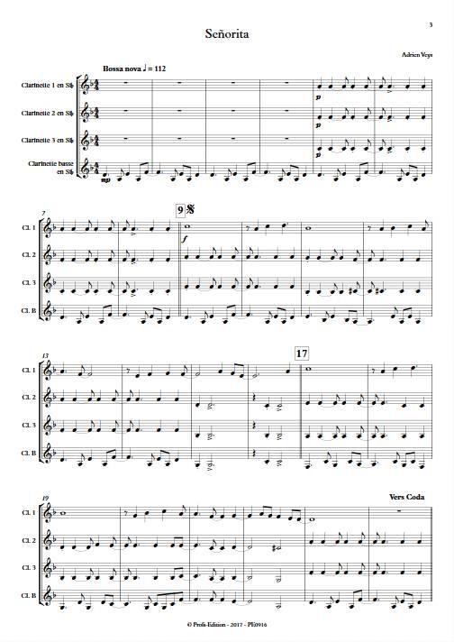 Señorita - Quatuor de Clarinettes - VEYS A. - app.scorescoreTitle