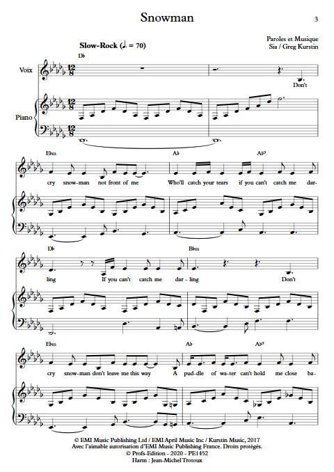 Snowman - Piano voix - SIA - app.scorescoreTitle
