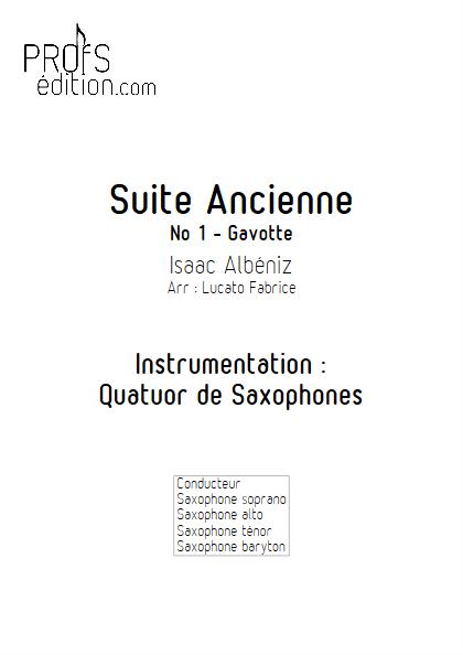 Suite Ancienne (Gavotte) - Quatuor de Saxophones - ALBENIZ I. - front page
