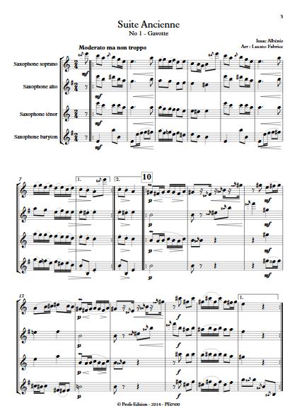 Suite Ancienne (Gavotte) - Quatuor de Saxophones - ALBENIZ I. - app.scorescoreTitle