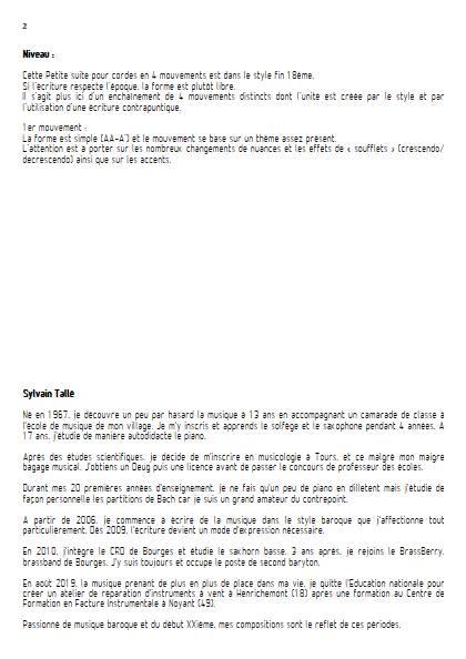 Petite suite pour cordes - 1er mvt - Orchestre à cordes - TALLE S. - Educationnal sheet