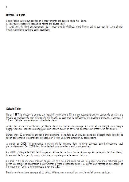 Petite suite pour cordes - 3er mvt - Orchestre à cordes - TALLE S. - Educationnal sheet