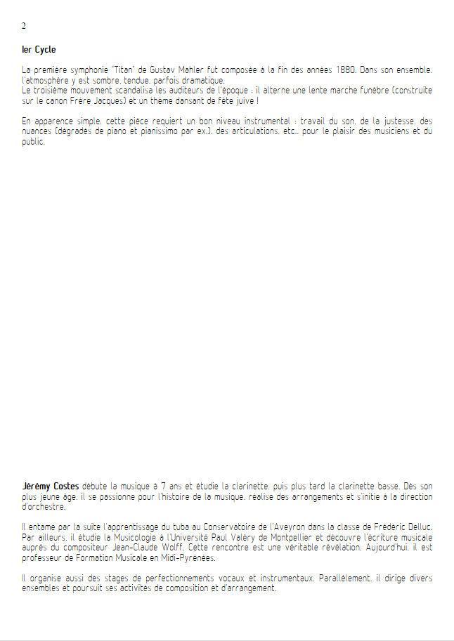 Symphonie n°1 le Titan - Ensemble Géométrie Variable - MAHLER G. - Educationnal sheet