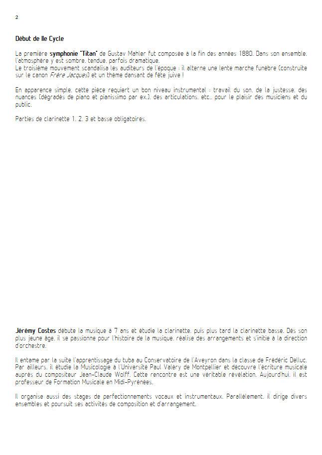 Symphonie n°1 le Titan - Quatuor Clarinettes - MAHLER G. - Educationnal sheet