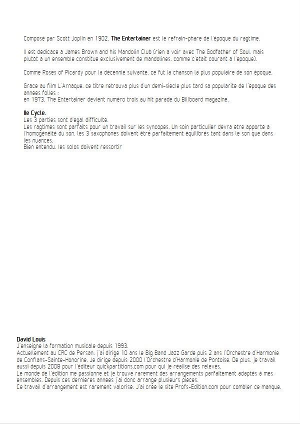The Entertainer - Trio de Sax - JOPLIN S. - Educationnal sheet