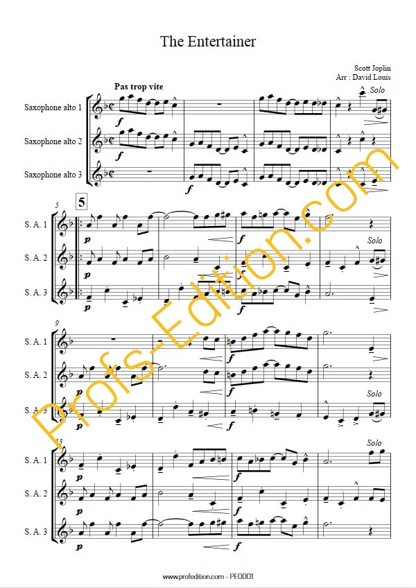 The Entertainer - Trio de Sax - JOPLIN S. - app.scorescoreTitle