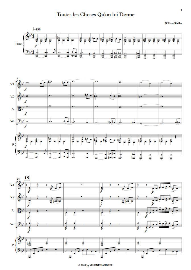 Toutes les Choses qu'on lui Donne - Chant et Quintette à Cordes - SHELLER W. - app.scorescoreTitle