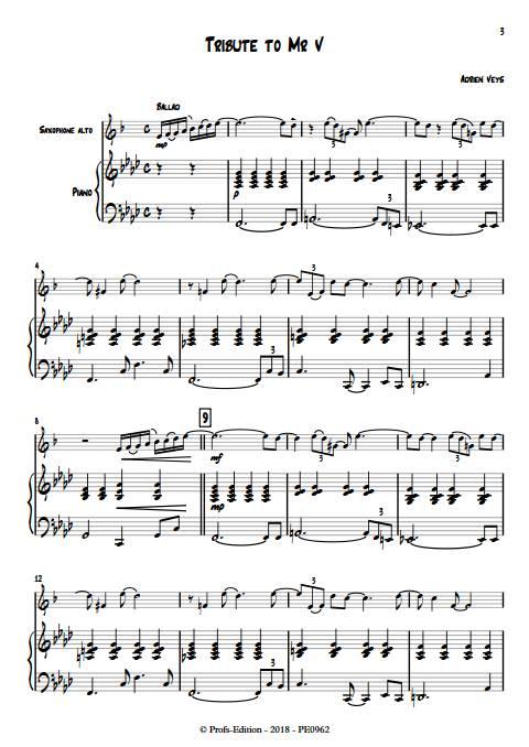 Tribute to Mr V - Duo Saxophone Piano - VEYS A. - app.scorescoreTitle