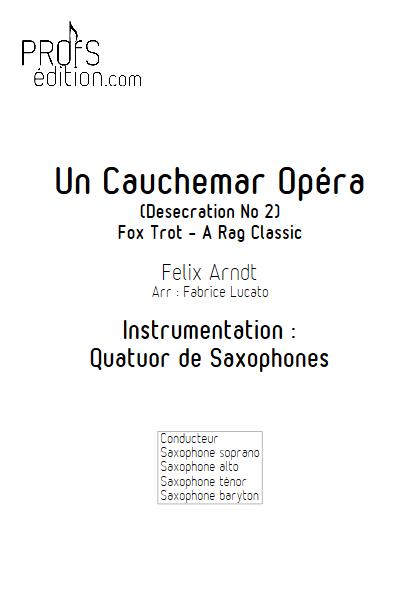 Un Cauchemar Opéra - Quatuor de Saxophones - ARNDT F. - front page
