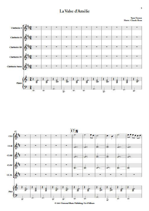 La Valse d'Amélie Poulain - Ensemble de Clarinettes - TIERSEN Yann - app.scorescoreTitle