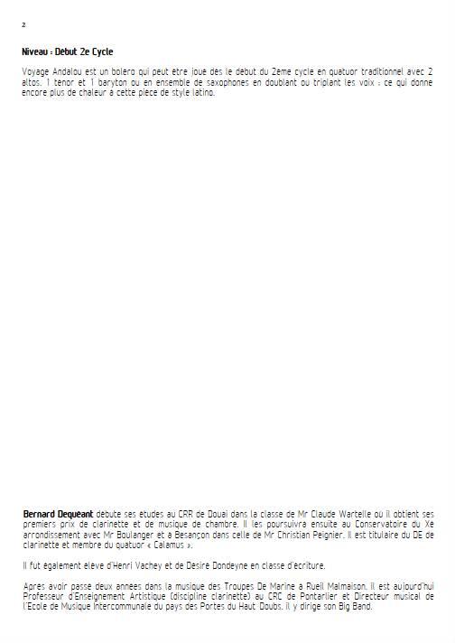 Voyage Andalou - Quatuor de Saxophones - DEQUEANT B. - Educationnal sheet